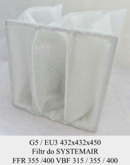 Filtr kieszeniowy EU5 do SYSTEMAIR FFR 355 / FFR 400 / VBF 315 / VBF 355 / VBF 400 (432x432x450)