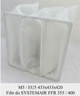 Filtr kieszeniowy EU5 do SYSTEMAIR FFR 355 / FFR 400 (433x433x420)