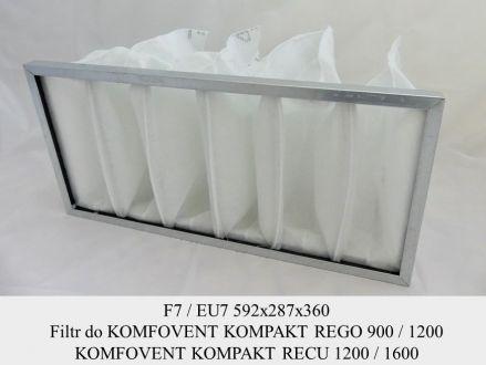 Filtr EU7 do KOMFOVENT KOMPAKT REGO 900 / 1200 i RECU 1200 / 1600 (592x287x360)