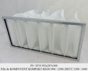 Filtr EU9 do KOMFOVENT KOMPAKT REGO 900 / 1200 i RECU 1200 / 1600 (592x287x360)